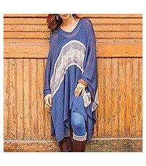 cotton blend poncho, 'blue inca' (peru)