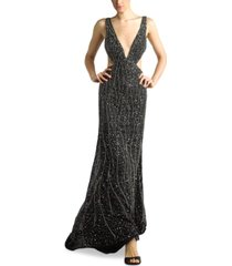 basix black label beaded cutout plunge gown