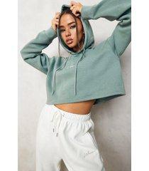woman korte geborduurde hoodie, sage