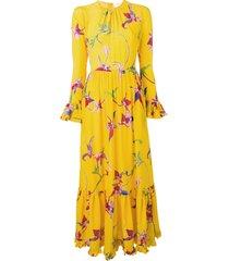 la doublej visconti orchid dress - yellow