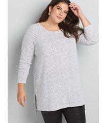 lane bryant women's long-sleeve boatneck tunic 22/24 micro dot