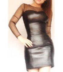 vestido en cuero sintético sarab- mujer / negro