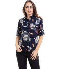 camisa kinara crepe manga martingale feminina