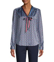 medallion-print tie-neck blouse