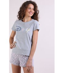 pijama feminino disney manga curta cinza mescla