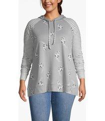 lane bryant women's mixed print hoodie 14/16 gray