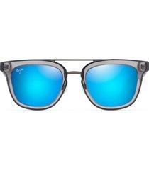 maui jim relaxation mode 49mm square polarized sunglasses - dove grey/ blue hawaii