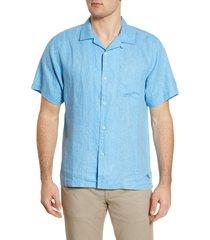 men's big & tall tommy bahama sea glass short sleeve button-up linen shirt, size 2xlt - blue