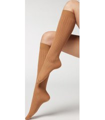 calzedonia women's ribbed long socks with cashmere woman brown size 39-41
