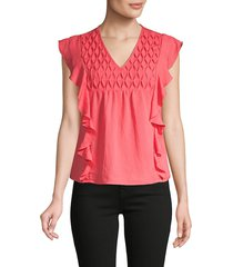 cliché women's flutter-sleeve cotton-blend top - watermelon - size s
