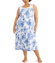 charter club plus size lace-trim knit nightgown, created for macy's
