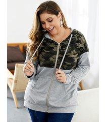 plus talla camo bolsillos laterales cremallera diseño cordón con capucha diseño abrigo