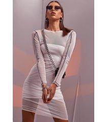 contrast stitch mesh midaxi jurk, white