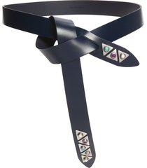 women's isabel marant letri embellished leather belt, size medium - navy night