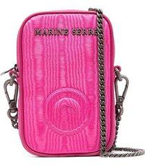 marine serre logo-lettering shoulder bag - pink