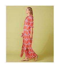 camisão feminino -camisão adri cor: coral, off white e fucsia estampado - tamanho: p