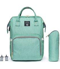 bolsa mochila lequeen de maternidade verde - tricae