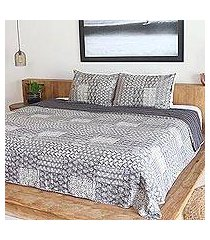 cotton bedspread and pillow shams, 'kantha charm in grey' (3 piece) (india)