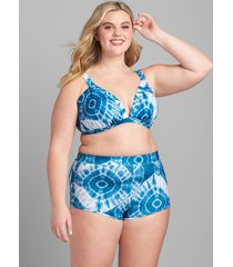 lane bryant women's no-wire triangle swim bikini top 26 shibori tie dye