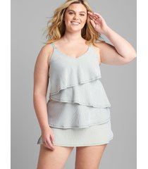 lane bryant women's relaxed no-wire tiered swim tankini top - seersucker 28 hedge green stripe