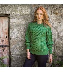 women's traditional merino wool aran sweater green xxl