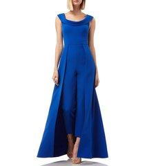 women's kay unger jumpsuit gown, size 2 - blue