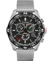 citizen eco-drive men's chronograph promaster navihawk stainless steel mesh bracelet watch 44mm