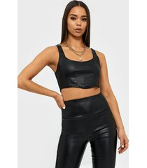 nly one leather look corset top linnen