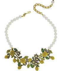 a lot of lemons faux pearl & crystal floral bib necklace