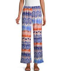 cocobleu women's print pull-on pants - size l