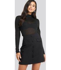 trendyol button detailed mini skirt - black