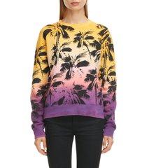 women's saint laurent degrade palm print sweatshirt