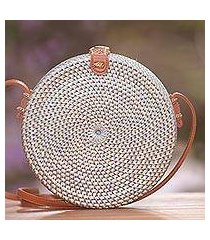 round woven bamboo shoulder bag, 'blue-grey wheel' (indonesia)