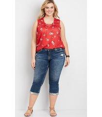 plus size jeans silver jeans co.® womens elyse destructed cuffed capri blue denim - maurices