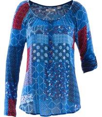 tunica in tessuto stropicciato a maniche lunghe (blu) - bpc bonprix collection
