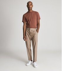 reiss brighton - pleat front trousers in fawn, mens, size 38