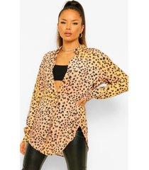 oversized luipaardprint blouse, purple