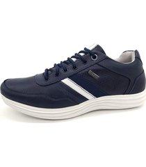 calçado masculino sapatênis em couro kéffor cor marinho linha sevilha - kanui