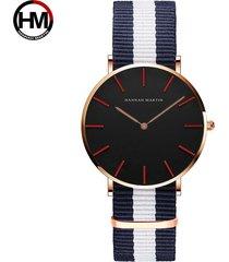 relojes de cuarzo de nylon para hombres y mujeres-blanco