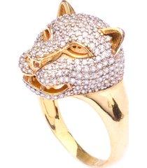 anel boca santa animal do poder cristal - ouro amarelo