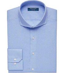 cole haan men's grand.øs blue check slim fit dress shirt - size: 19 34/35