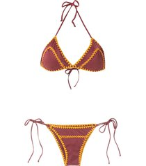 brigitte tati e julia crochet set bikini - red