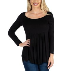 24seven comfort apparel women long sleeve square neck empire waist tunic top