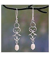 cultured pearl dangle earrings, 'sublime trellis' (india)