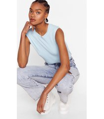 womens knit just got good knitted tank top - pale blue