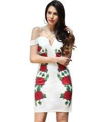 bordado de flores fuera del hombro vestido sexy mujeres fiesta de noche sin respaldo vintage bodycon vestido de verano negro vestido a media pierna-blanco