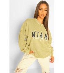 oversized gebleekte miami sweater met tekst, khaki