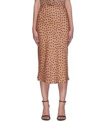perin' polka dot bias-cut midi skirt
