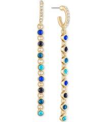 rachel rachel roy gold-tone crystal hoop & link chain linear drop earrings