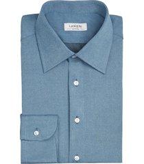 camicia da uomo su misura, canclini, jeans azzurra, quattro stagioni | lanieri